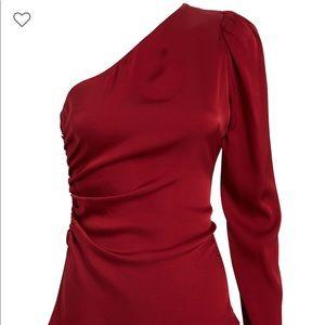 Intermix Red Silk One Shoulder Top